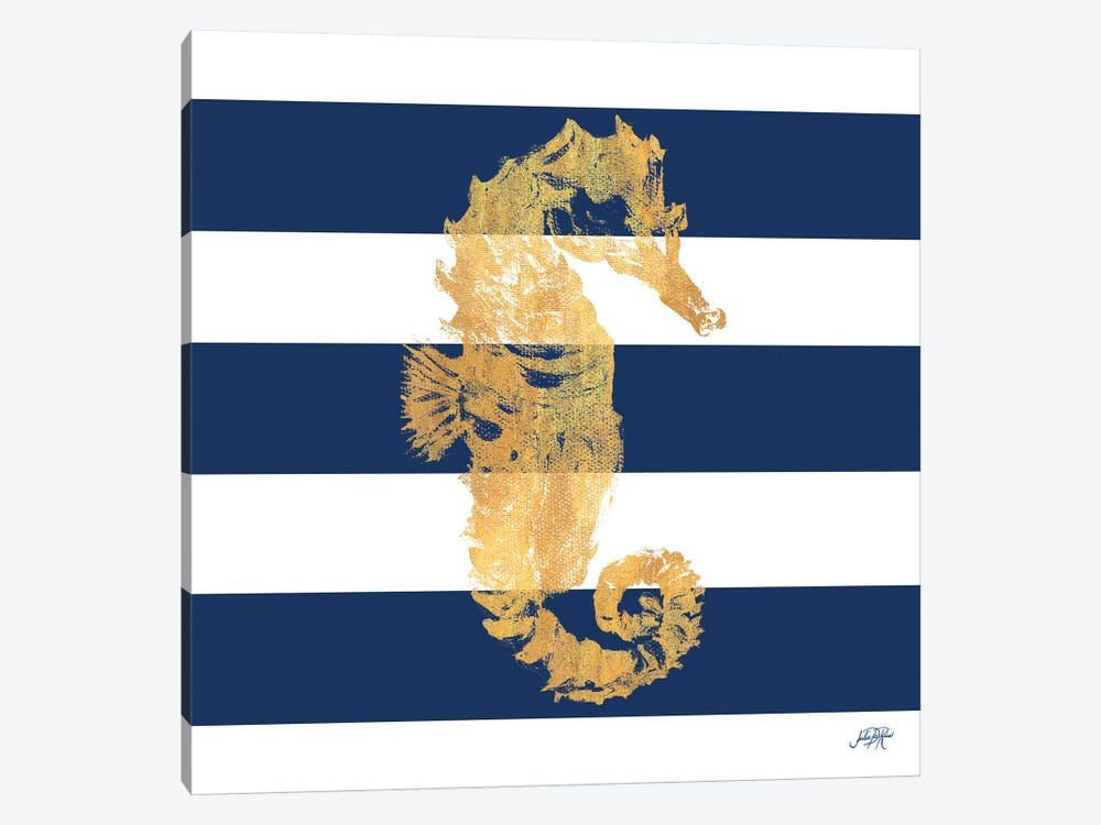 Gold Seahorse on Stripes I by Julie Derice 1-piece Canvas Wall Art