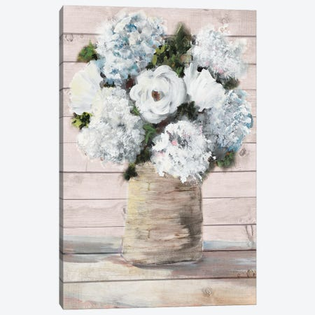 White and Blue Rustic Blooms Canvas Print #DRC220} by Julie Derice Canvas Art Print