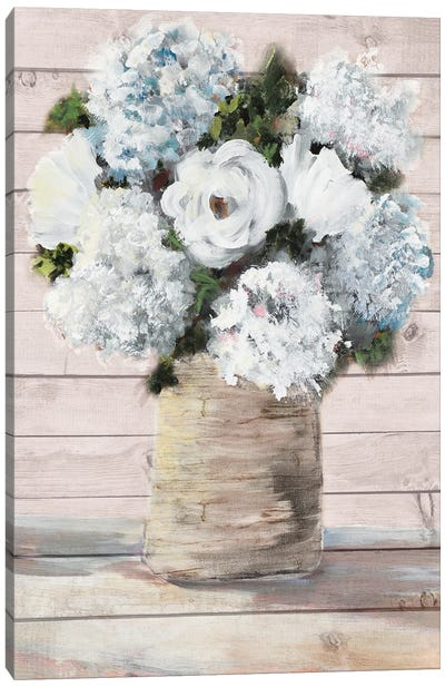 White and Blue Rustic Blooms Canvas Art Print