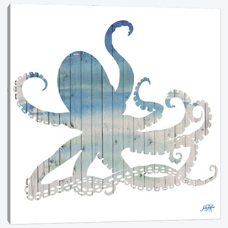 Wooden Octopus Canvas Print #DRC221} by Julie Derice Art Print
