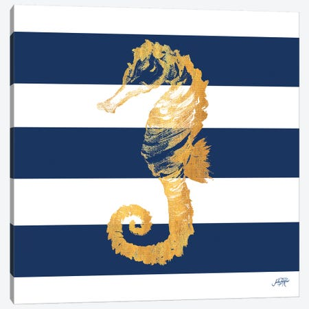Gold Seahorse on Stripes II Canvas Print #DRC22} by Julie Derice Canvas Wall Art