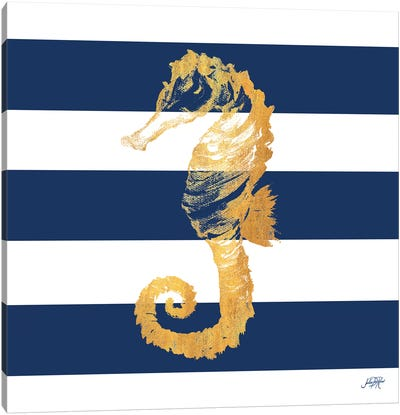 Gold Seahorse on Stripes II Canvas Art Print