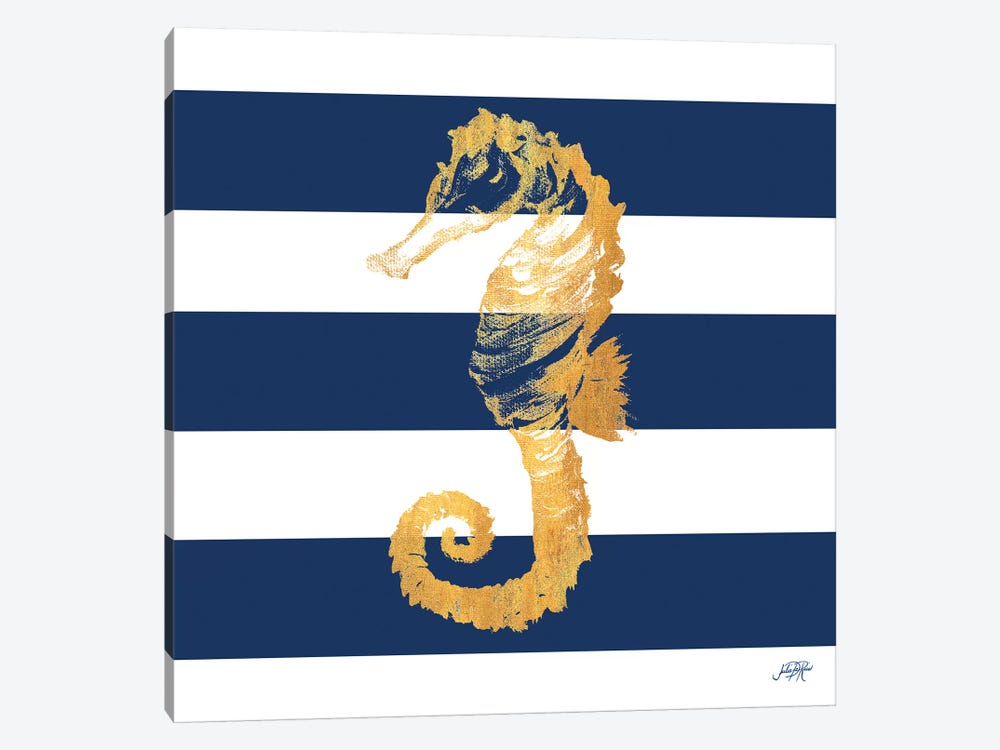 Gold Seahorse on Stripes II by Julie Derice 1-piece Art Print