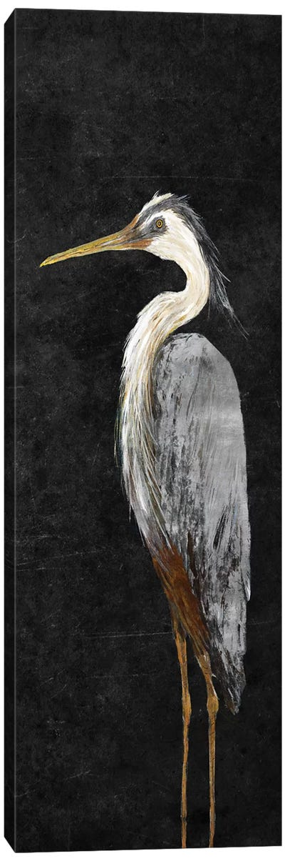 Heron on Black I Canvas Art Print