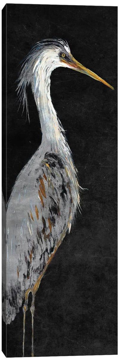 Heron on Black II Canvas Art Print
