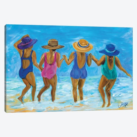 Ladies on the Beach I Canvas Print #DRC30} by Julie Derice Canvas Art Print