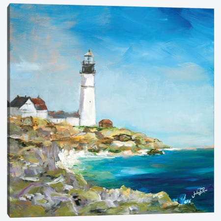 Lighthouse on the Rocky Shore I Canvas Print #DRC34} by Julie Derice Canvas Wall Art
