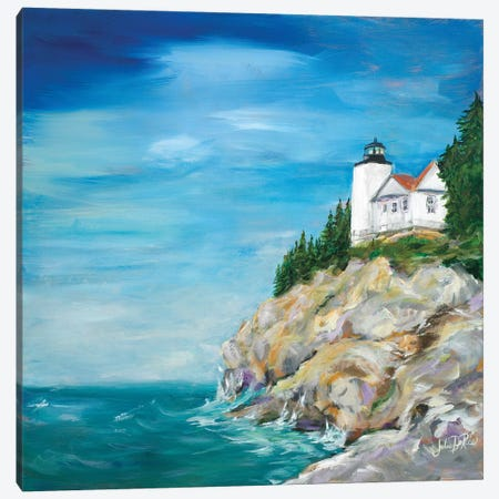 Lighthouse on the Rocky Shore II Canvas Print #DRC35} by Julie Derice Canvas Art