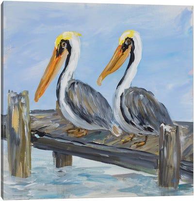 Pelicans on Deck Canvas Art Print