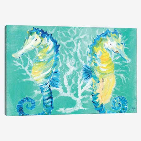 Seahorses on Coral Canvas Print #DRC50} by Julie Derice Canvas Print