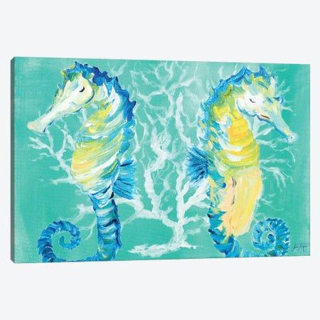 Seahorses on Coral Canvas Print #DRC50} by Julie Derice Canvas Print