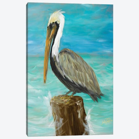 Single Pelican on Post Canvas Print #DRC51} by Julie Derice Art Print
