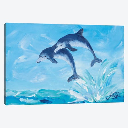 Soaring Dolphins I Canvas Print #DRC52} by Julie Derice Canvas Art Print