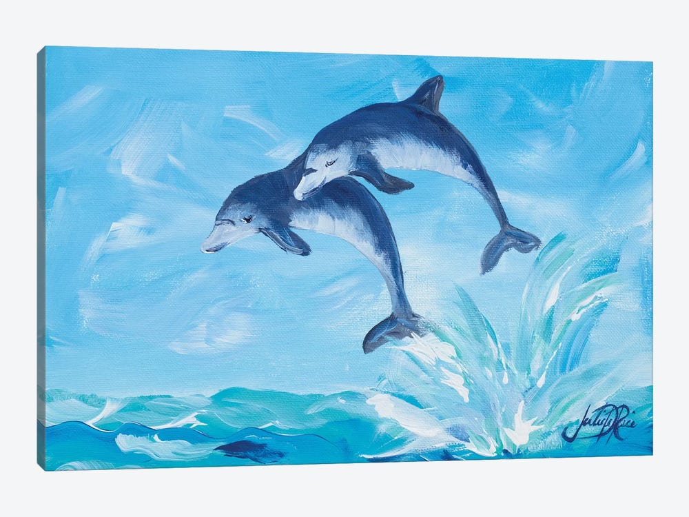Soaring Dolphins I by Julie Derice 1-piece Canvas Art