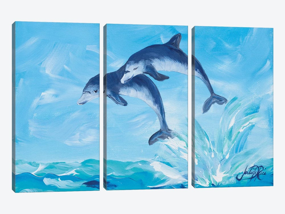 Soaring Dolphins I by Julie Derice 3-piece Canvas Wall Art