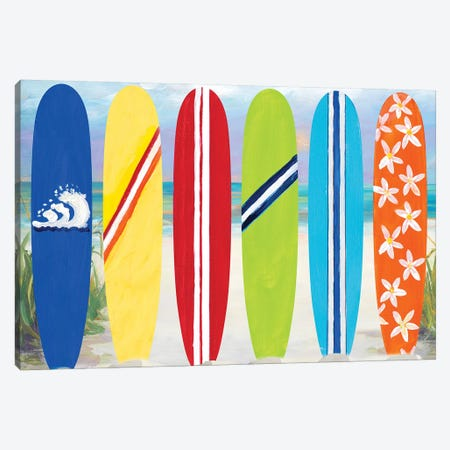 Surf Boards on the Beach Canvas Print #DRC55} by Julie Derice Canvas Wall Art
