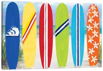 Surf Boards on the Beach Canvas Art Print