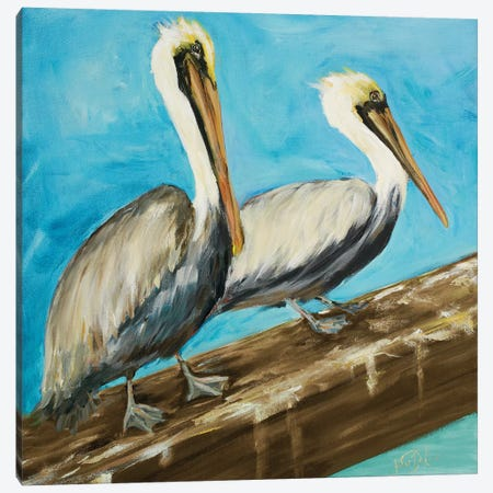 Two Pelicans on Dock Rail Canvas Print #DRC65} by Julie Derice Art Print
