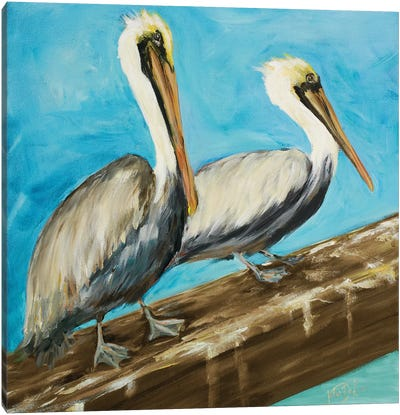 Two Pelicans on Dock Rail Canvas Art Print