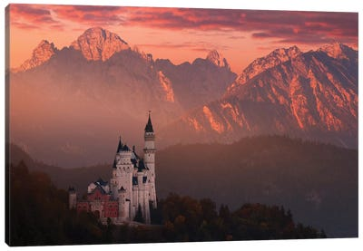 Red Morning Above The Castle Canvas Art Print
