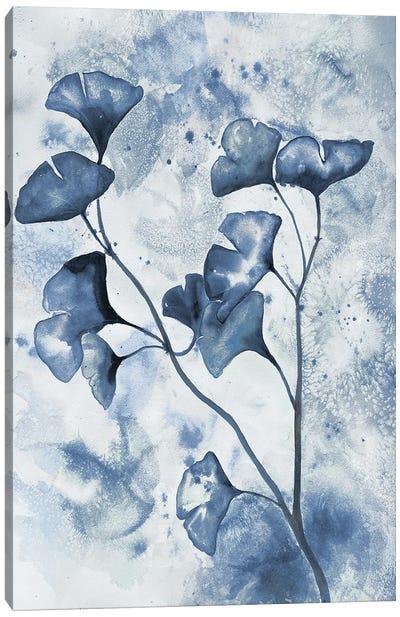 Indigo Splashed Ginkos I Canvas Art Print