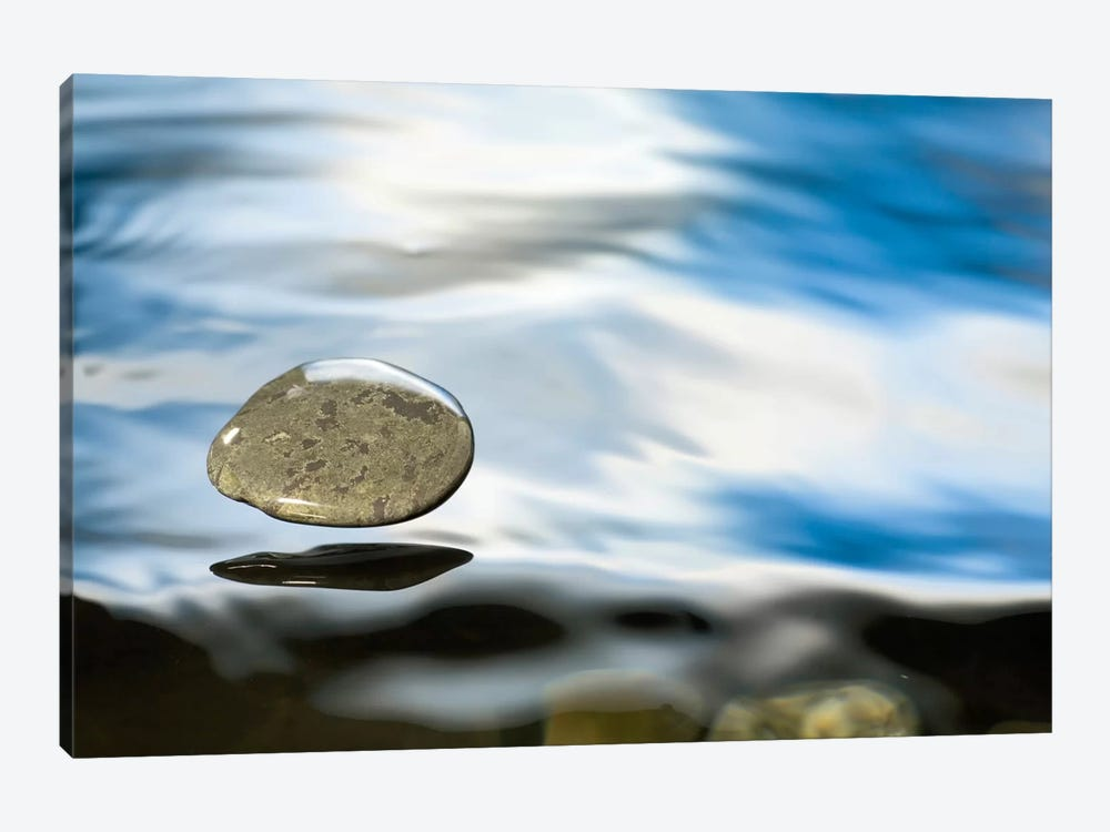 Skipping Stone Just About To Hit The Water's Surface by Michael Durham 1-piece Art Print