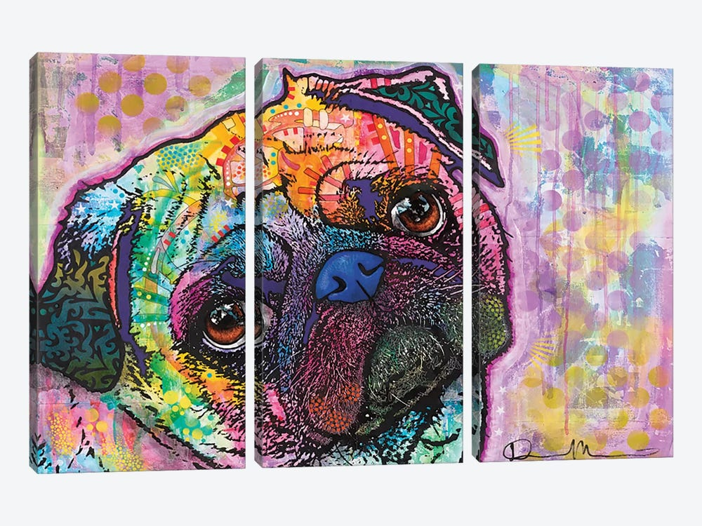 Pug Love by Dean Russo 3-piece Canvas Artwork