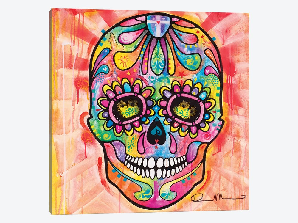 Sugar Skull - Day of the Dead by Dean Russo 1-piece Canvas Artwork