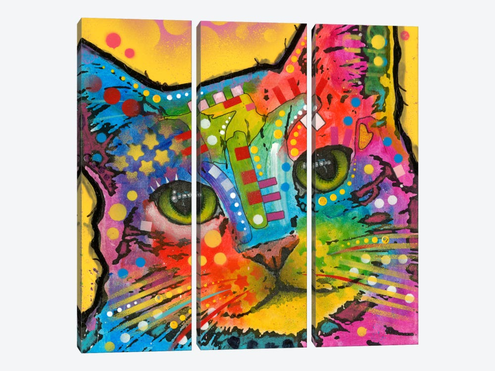 Tilt Cat by Dean Russo 3-piece Canvas Wall Art