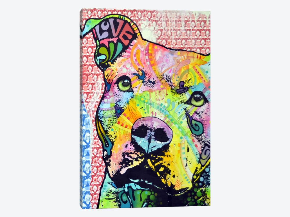 Thoughtful Pit Bull This Years by Dean Russo 1-piece Art Print