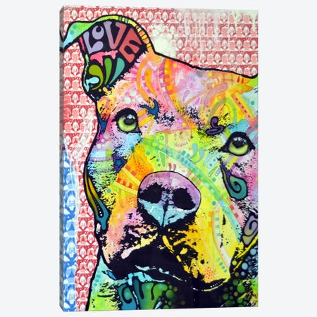 Thoughtful Pit Bull This Years 3-Piece Canvas #DRO13} by Dean Russo Art Print
