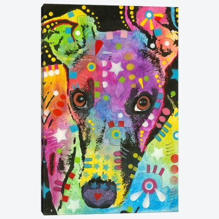 Curious Greyhound Canvas Print #DRO143} by Dean Russo Canvas Art