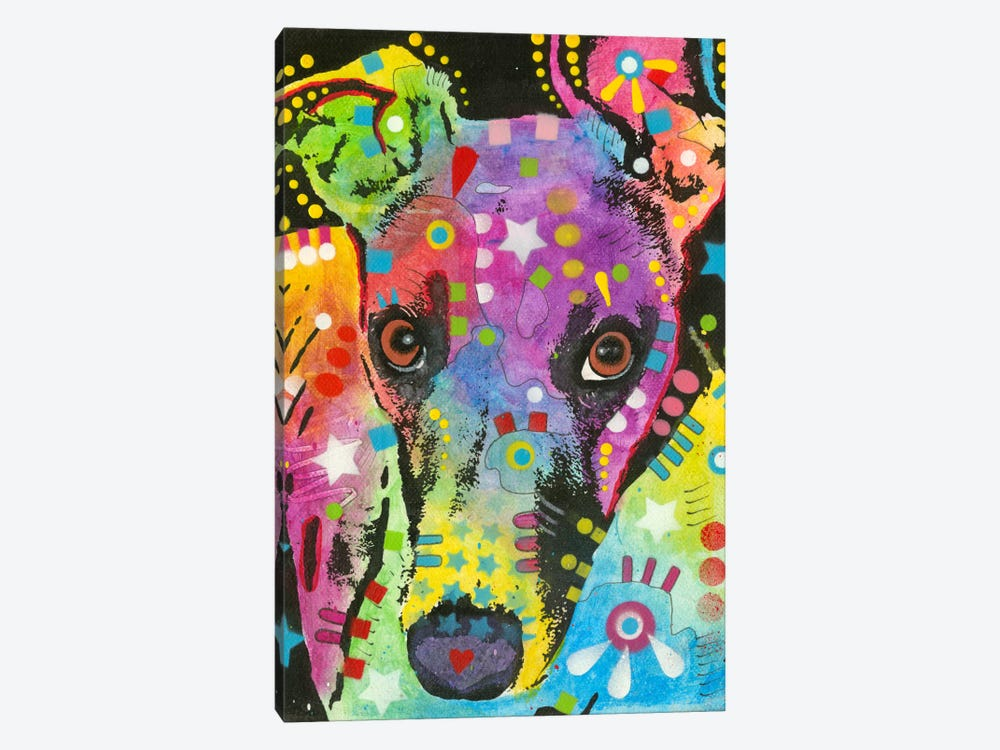 Curious Greyhound by Dean Russo 1-piece Art Print