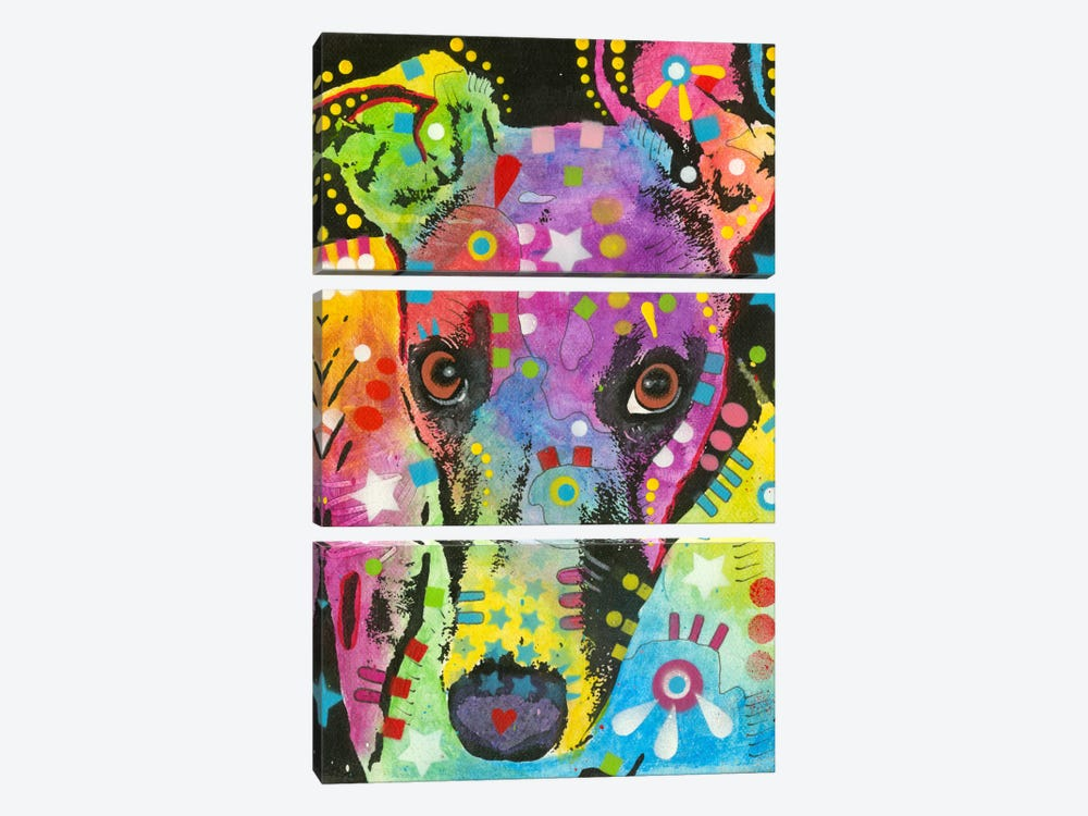 Curious Greyhound by Dean Russo 3-piece Art Print
