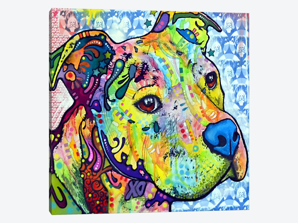 Thoughtful Pit Bull This Years I by Dean Russo 1-piece Canvas Artwork