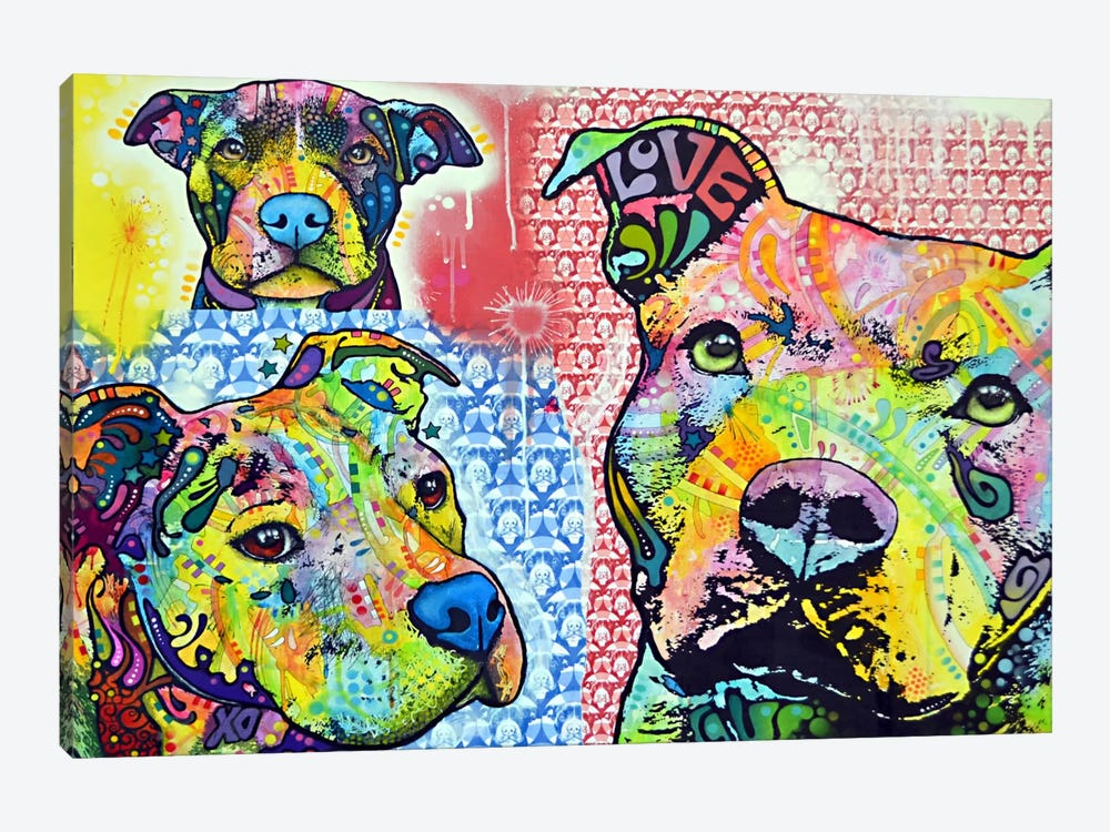 Thoughtful Pit Bull This Years II by Dean Russo 1-piece Canvas Art Print