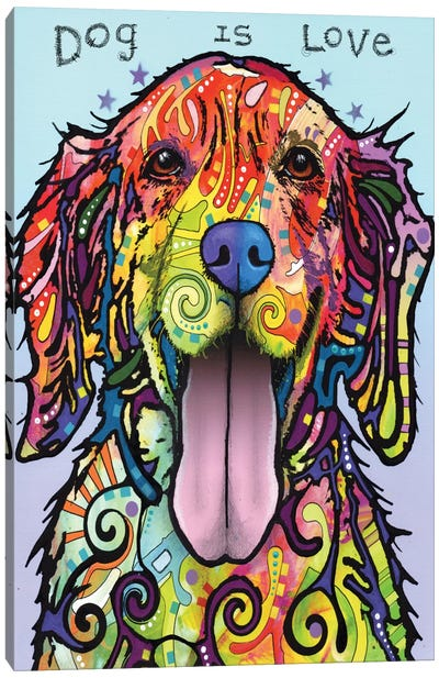 Dog Is Love by Dean Russo Canvas Art Print