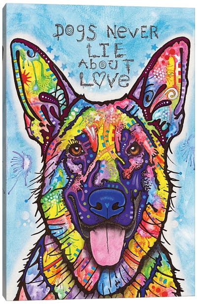 Dogs Never Lie About Love Canvas Print #DRO194