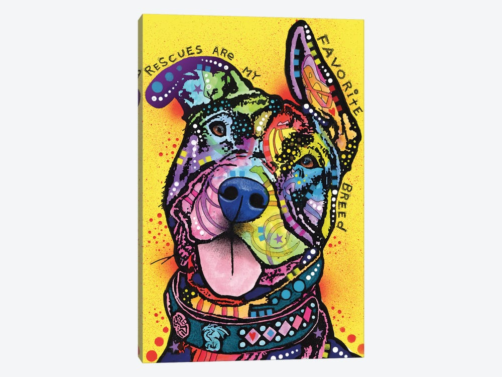 Rescues Are My Favorite Breed by Dean Russo 1-piece Canvas Print