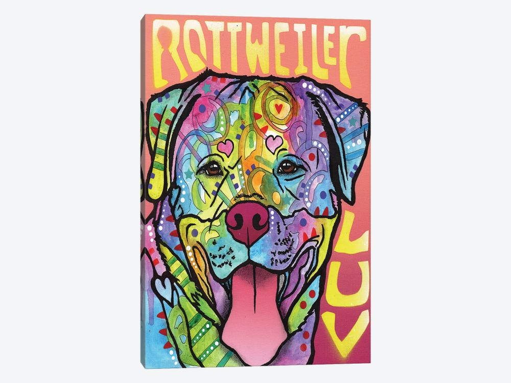 Rottweiler Luv by Dean Russo 1-piece Canvas Art Print