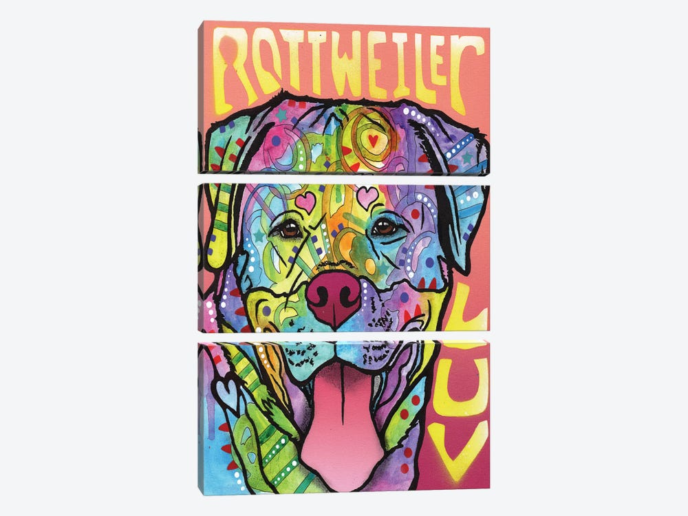 Rottweiler Luv by Dean Russo 3-piece Canvas Art Print