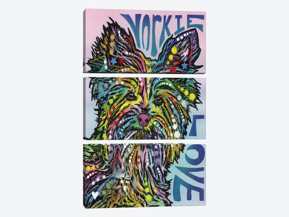 Yorkie Love by Dean Russo 3-piece Art Print