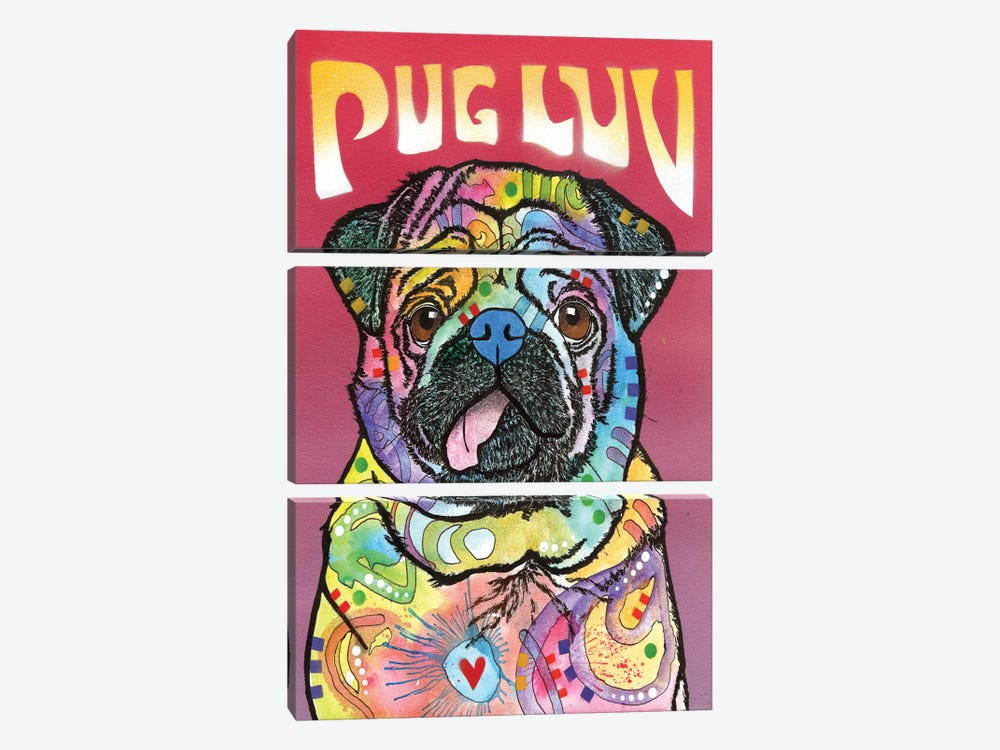 Pug Luv by Dean Russo 3-piece Canvas Artwork