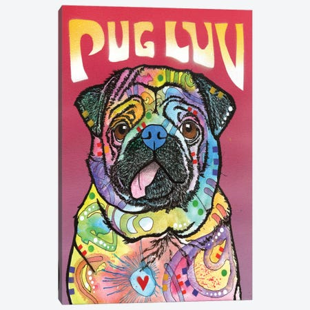 Pug Luv Canvas Print #DRO211} by Dean Russo Canvas Artwork