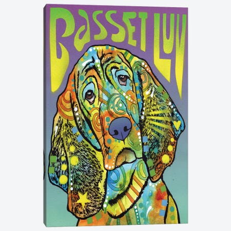 Basset Hound Luv Canvas Print #DRO212} by Dean Russo Canvas Artwork