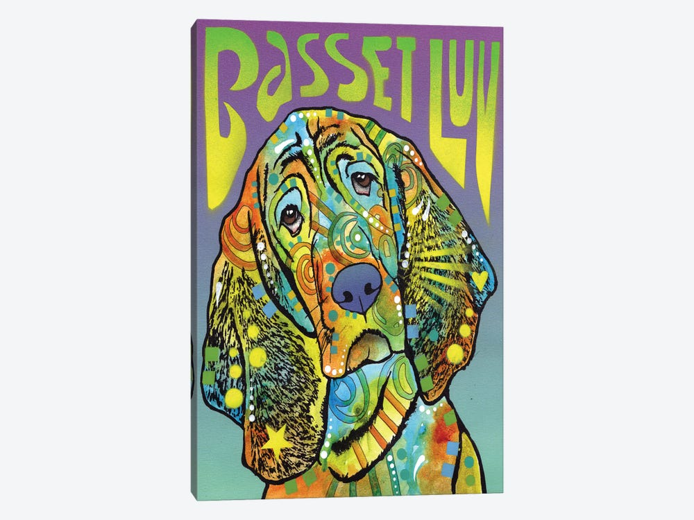 Basset Hound Luv by Dean Russo 1-piece Canvas Print