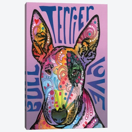 Bull Terrier Love Canvas Print #DRO215} by Dean Russo Canvas Art Print