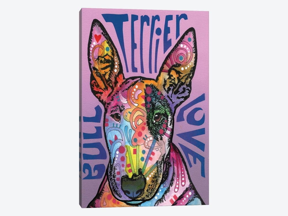 Bull Terrier Love by Dean Russo 1-piece Canvas Wall Art