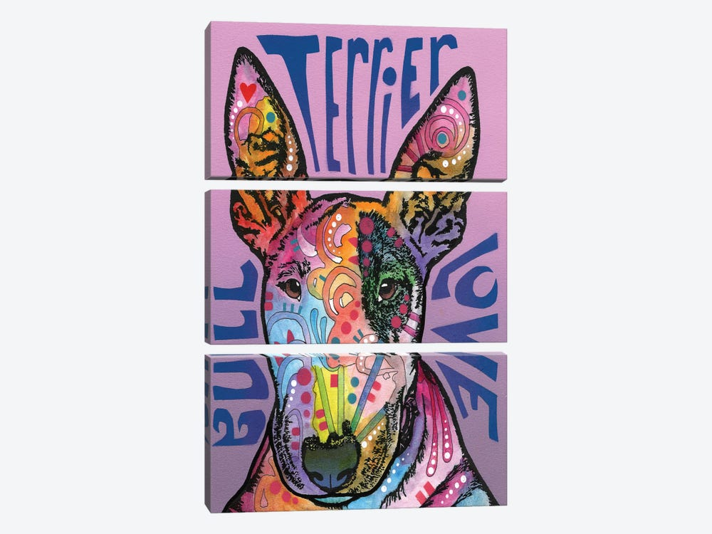 Bull Terrier Love by Dean Russo 3-piece Canvas Art