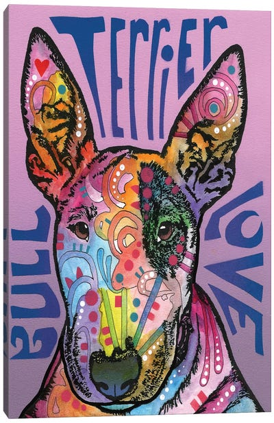 Bull Terrier Love Canvas Art Print